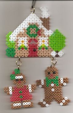 Perler beads Gingerbread House with Gingerbread boy and girl
