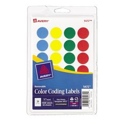 Avery Removable Print or Write Color Coding Labels Round 0.75 Inches Pack of ... #Avery