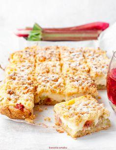 Ciasto z rabarbarem i budyniem Baking Recipes, Cake Recipes, Polish Recipes, No Bake Cake, Vegetarian Recipes, Sweet Treats, Food And Drink, Sweets, Cooking