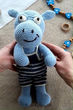 Crochet Animal Pattern – Amigurumi Hippo Toy l Crochet Animal Patterns, Crochet Doll Pattern, Crochet Patterns Amigurumi, Crochet Animals, Crochet For Boys, Crochet Baby, Crochet Hippo, Margarita Crochet, Baby Girl Patterns