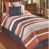 The Manning bedding set from Ashley Furniture includes an oversize comforter, bed skirt, pillow shams, and decorative pillows. This sleek bedding is made with a vibrant palette of contemporary stripes. Full Size Comforter Sets, Bed Comforter Sets, Comforters, Duvet, Men's Bedding, Mens Bedding Sets, Luxury Bedding Sets, Ashley Furniture Sale, Bed Sets For Sale