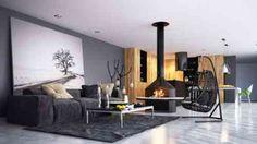 Décoration salon en noir avec cheminée design