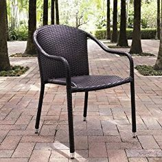 Crosley Palm Harbor Outdoor Wicker Stackable Chairs, Set of 4, Brown