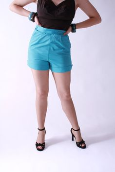 Vintage 1950s Shorts   Killer Turquoise Blue Adjustable by FabGabs, $58.00
