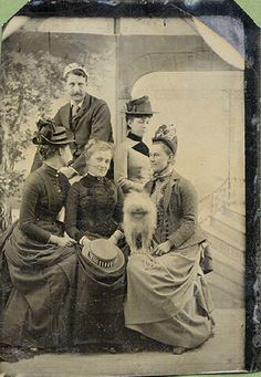 ca. 1880's, [tintype portrait of an odd group of five people, including a blurry dog or other creature and one woman facing away from ...
