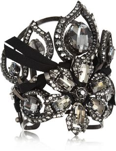 LANVIN Floral Crystal Cuff - Lyst