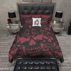 Red and Black Collage Skull Duvet Bedding Sets