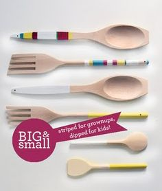 A Big & Small DIY. Grownups make the striped ones. Kids make the dipped ones! Click for full tutorial.