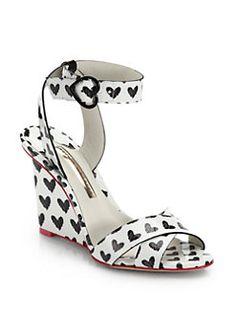 Sophia Webster - Amanda Heart-Print Patent-Leather Wedge Sandals