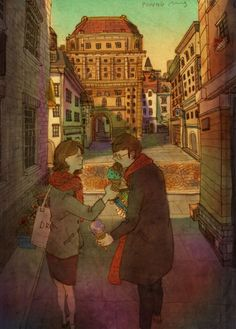 Korean Artist Depicts What Real Love Is in Beautiful Paintings - These pictures just have so much charm! They are so simplistic and are so slice of life but are still so romantic. What's True Love, Real Love, What Is Love, Couple Illustration, Illustration Art, Puuung Love Is, Ah O Amor, Illustration Mignonne, Art Anime