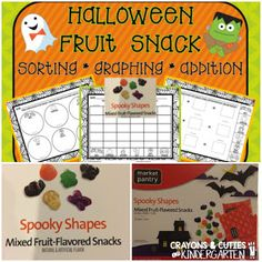 Halloween fruit snack sorting, counting, graphing and addition FREE printables!