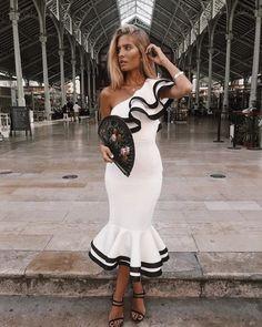 Contrast Binding Ruffled One Shoulder Fishtail Dress Gala Dresses, Cute Dresses, Casual Dresses, Summer Dresses, Formal Dresses, Casual Fall Outfits, Classy Outfits, Estilo Olivia Palermo, Fishtail Dress