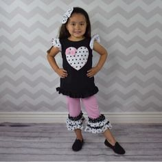 Baby Girl Clothes Black & Pink Polka Dot Heart Capri Set Toddler Girl Outfit Infant Girl Outfit Clothing Girl Clothes Back To School Summer by MoxieGirlBoutique on Etsy