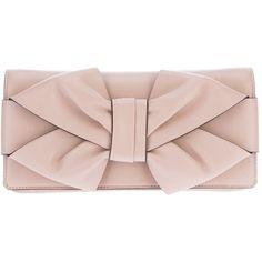 VALENTINO GARAVANI silk bow clutch ($868) ❤ liked on Polyvore featuring bags, handbags, clutches, purses, bolsas, accessories, bow purse, pink bow purse, nude purses and silk handbags