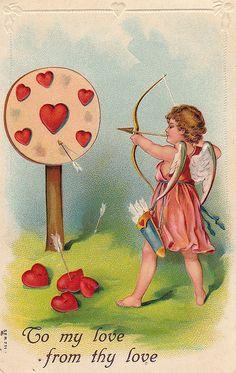 Vintage Valentine Postcard - Cupid