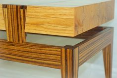 coffee table reclaimed red oak and quartersawn  zebrawood detail shot #handmade #furniture #table #coffetable #furnituredesign #woodworking #finefurniture