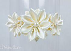 Ivory Flower Girl Headband - Stella Ivory Flowers Handmade Headband - Baby to Adult Headband