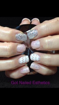 Silver and Light Pink Glitter Nails With White Chevron Accent Nail