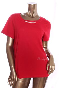 KAREN SCOTT New Womens $29 Red Embellished Front Short Sleeve Knit Top Size L #KarenScott #KnitTop #Casual
