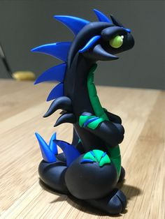 Polymer clay dragon black dragon one of a kind by KiwikoiOriginals