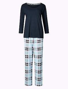 Schlafanzugset mit 3/4-Arm aus reiner Baumwolle mit Karomuster