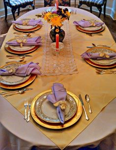 Our beautiful Easter set up at a close family dinner. All Pro Party Consultant staff put together these beautiful table settings. Yellow and lavender table linens, ornate silverware, lavender napkins, and gold chargers.