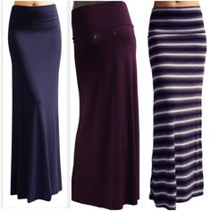 Fun Maxi Skirts Solid Navy or Black&White or Wine&Black Striped Maxi Skirts. All come in Small medium or Large and XL Skirts Maxi