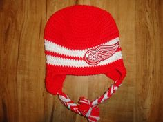NHL Detroit Red Wings Crocheted Hat. $20.00, via Etsy.