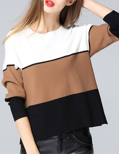 Shop Colour-block Round Neck Crop Knitwear online. SheIn offers Colour-block Round Neck Crop Knitwear & more to fit your fashionable needs.