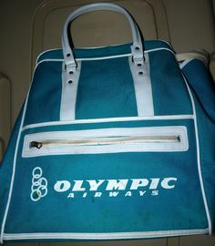 Vtg Olympic Airways Greece Airlines Aqua Carry On Bag 1960s European Greek a4