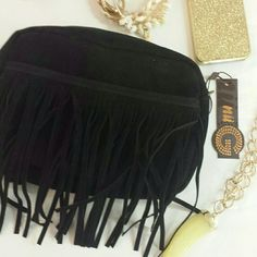 """{N.W.T} Black Suede Like Fringe Clutch N.W.T Black Suede Like Fringe Clutch. BRAND NEW WITH TAGS. Strap Included Inside.  >MEASUREMENTS Length:9"""" Height:6"""" Width:2"""" Front Pouch Length : 7""""  Please Ask Questions Before Purchasing  ALL SALES ARE FINAL   NO TRADES NO PAYPAL NO HOLDS NO LOW BALL OFFERS Bags Clutches & Wristlets"""