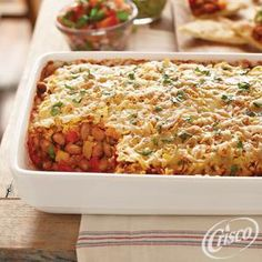 Cheesy Pinto Beans with Onions and Peppers from Crisco® #fathersday #recipes