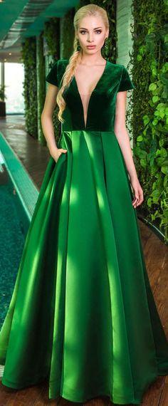 NEW! Charming Fleece & Satin V-neck Neckline Cut-out A-line Prom Dress