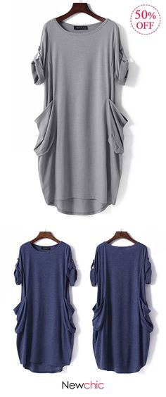 2018 casual womens tops. Pure Color Half Sleeve O-neck Pocket Casual Loose Dresses. 2 colors options, US size 8 to 20. #casual #dresses #shirts
