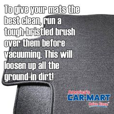 Use this trick to get the carpet in your car cleaner than ever! #tipoftheweek #cleaningtips #springcleaning #americascarmart #driveeasy