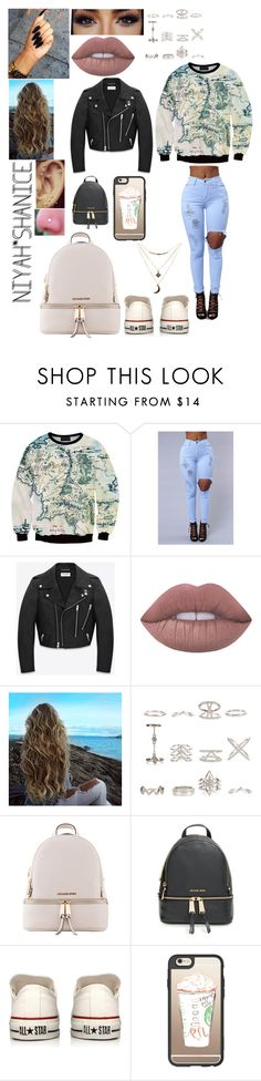 """""""LETS GO AROUND THE WORLD"""" by adavies1115 ❤ liked on Polyvore featuring Chicnova Fashion, Yves Saint Laurent, Lime Crime, New Look, Michael Kors, MICHAEL Michael Kors, Converse, Casetify and Charlotte Russe"""