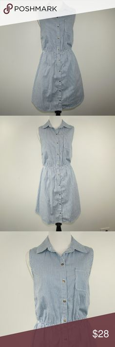 Belle du Jour Striped Denim Dress size Large Belle du Jour Striped Denim Dress.  Size Large. Above the knee length. Button front. Elastic waist. Sleeveless.  Denim with white vertical pin stripes.  Used item: any wear shown in pictures. Excellent condition.  Bundle Up!  Offers always welcome : )  A041 Belle Du Jour Dresses