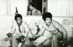 """Fred Williamson, Jim Brown and Jim Kelly in """"Three the Hard Way"""" Fred Williamson, Slavery Today, African American Movies, Old School Movies, Jim Kelly, Jim Brown, Black Actors, Black Celebrities, Central Library"""
