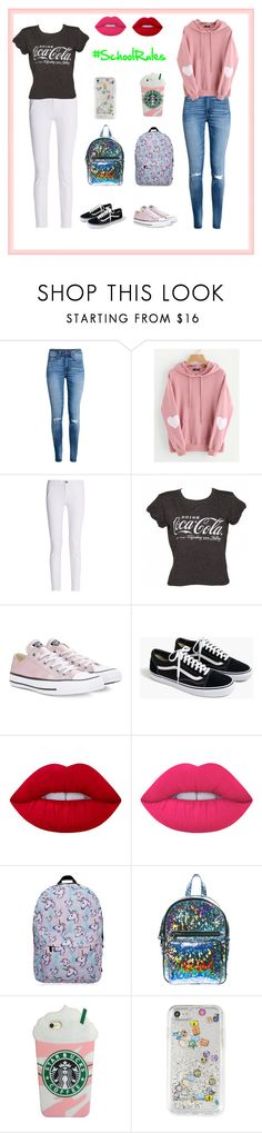 """""""Besties' Outfits For School🤓"""" by xxflowersxx ❤ liked on Polyvore featuring H&M, WithChic, rag & bone, Converse, J.Crew, Lime Crime, Current Mood, Rebecca Minkoff and Cool4school"""