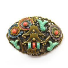 Image of Vintage Czech Art Deco Neiger Peking Glass Pagoda Enamel Brooch