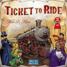 """Ticket to Ride - a tribute to Jules Verne's  novel, """"Around the World in 80 Days"""",  celebrates Phileas Fogg's notorious wager. The goal of this cross-country train adventure is to see the most cities in North America in 7 days. Earn points collecting train cards to claim routes connecting cities. More points come when Destination Tickets are fulfilled by connecting 2 distant cities, & to the player who builds the longest continuous railway. 2-5 players, 8 yrs & up. Game offered with other…"""