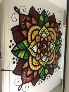 Wall Murals Painted Hands Ideas For 2019 Mandala Art, Mandala Painting, Wall Art Designs, Paint Designs, Wall Design, Mural Art, Wall Murals, Wall Drawing, Chalk Art