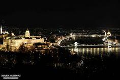 Hungary Budapest, view at night from Citadella