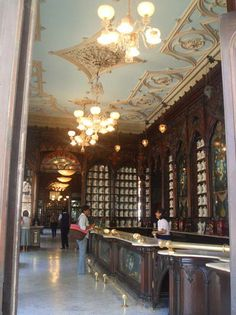 Cuba: The beautiful, antique Sarra Pharmacy. French Art Nouveau decor elements, marble counter. La antigua y hermosa Droguería Sarrá
