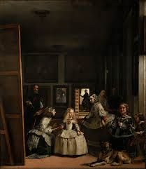 3. Las Meninas es una pintura a aceite sobre tela de 318 × 276 centímetros realizados en el 1656.È guardado en el Museo del Prado de Madrid.En esta obra es pintada el Infanta Margarita, la hija mayor de la nueva reina, circundada por sus damas de corte.