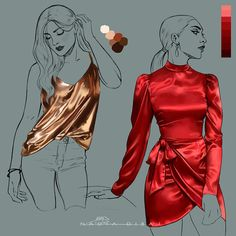 Digital Painting Tutorials, Digital Art Tutorial, Art Tutorials, Fashion Drawing Tutorial, Fashion Illustration Dresses, Fashion Design Sketches, Drawing Clothes, Art Reference Poses, Drawing Techniques