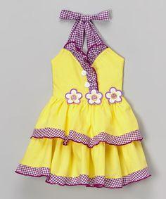 Look what I found on #zulily! Yellow Gingham Edge Halter Dress - Toddler & Girls #zulilyfinds