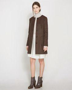 Brown Collarless Coat