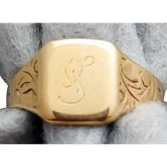 Antique 10 K yellow Gold Catalog Ring Initial S Fancy Script Size 6-3/4