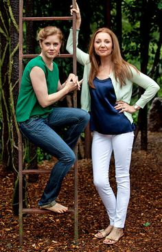 "Amy Adams, left, and Donna Murphy at the Delacorte Theater, where they are appearing in the musical ""Into the Woods."""